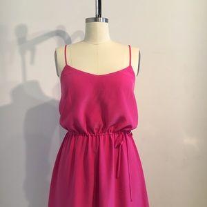 Joie femme silk slip dress, fuchsia, Small